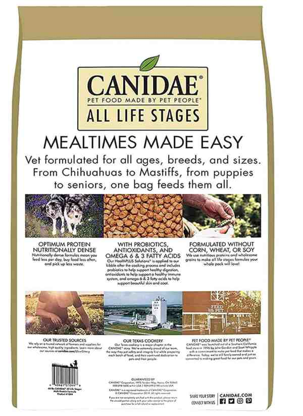 Canidae All Life Stages back of bag