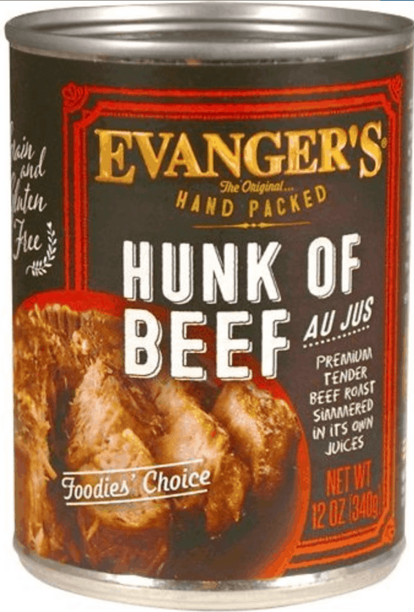 Evangers hunk of beef front of can