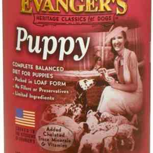 Evanger's puppy front of can