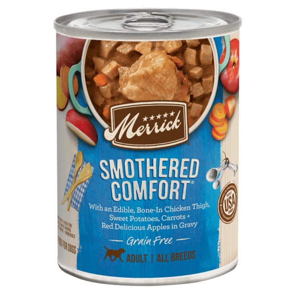 Merrick smothered comfort 12.7oz canned dog food