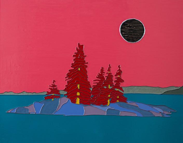 Red Island - Ile rouge - 20 in. x 24 in. x 1.5 in - 51 cm. x 61 cm. 4 cm.