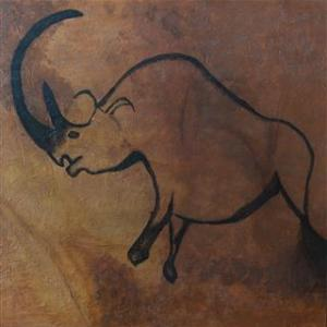 The Hairy European Rhino - Le rhino poilu d'Europe - Caverne Chauvet - 48 in x 48 in x 1.5 in - 122 cm x122 cm x 4 cm