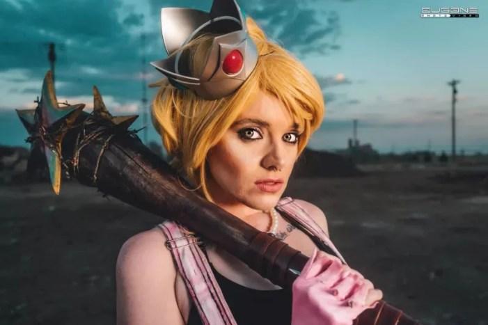 Cosplay da Princesa Peach em uma versão pós-apocalíptica