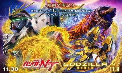 Teaser promocional traz confronto entre Gundam e Godzilla