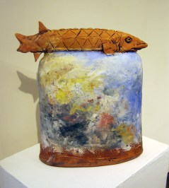 Fish on a pot. This was in his recent show at Circle Gallery in Athens, Ga.