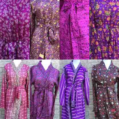 Purple sari silk robes Fair Trade