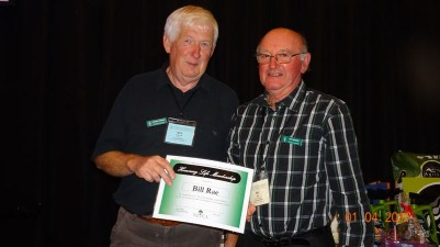 Bill Rae receives Life Membership from President Bob Phillips