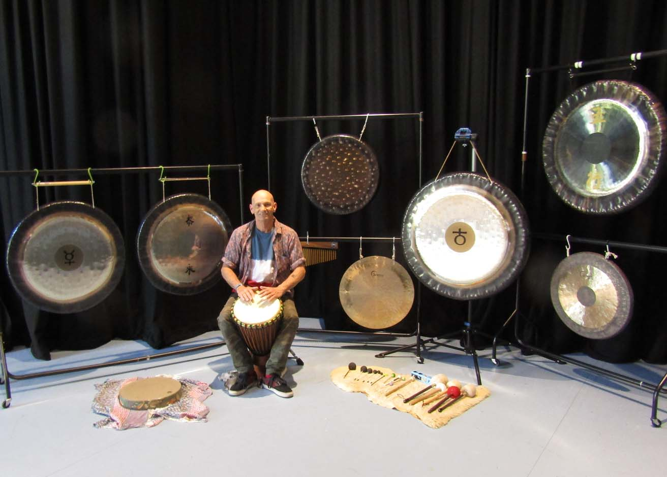 Gong bath setup at the Yard Theatre in Hulme, Manchester
