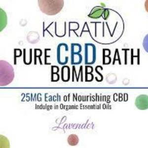 Kurativ CBD Bath Bomb, Lavander, 100MG