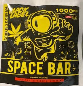 BLACK LABEL COOKIES N CREAM 1,000 MG THC SPACE BAR BROWNIE CAUTION: VERY STRONG! NEW!