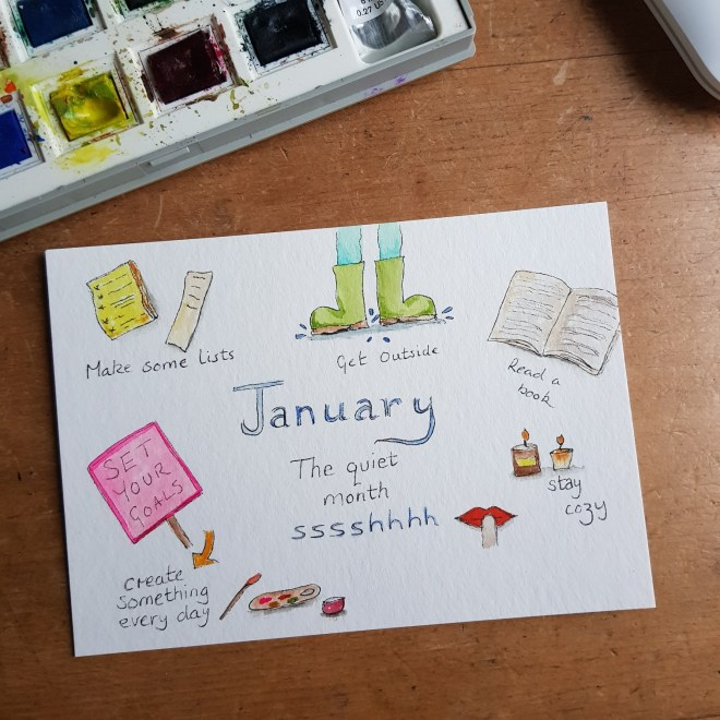 Watercolour painting by Treehousedesign showing things to do in January