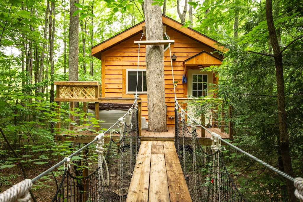 Beautiful tree house built amid Poplars, old White Oaks, and Red Maples