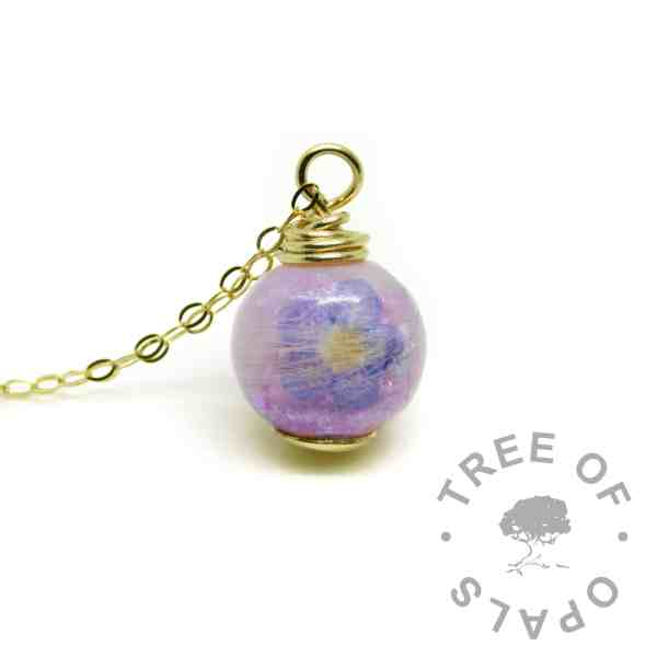 solid gold lock of hair pearl with orchid purple resin sparkle mix and forget-me-not flower - gold hair necklace memorial jewellery