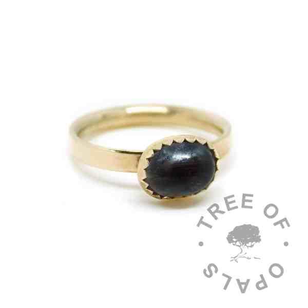 gold lock of hair ring black. Vampire Black resin sparkle mix, solid 14ct hallmarked gold. Mockup