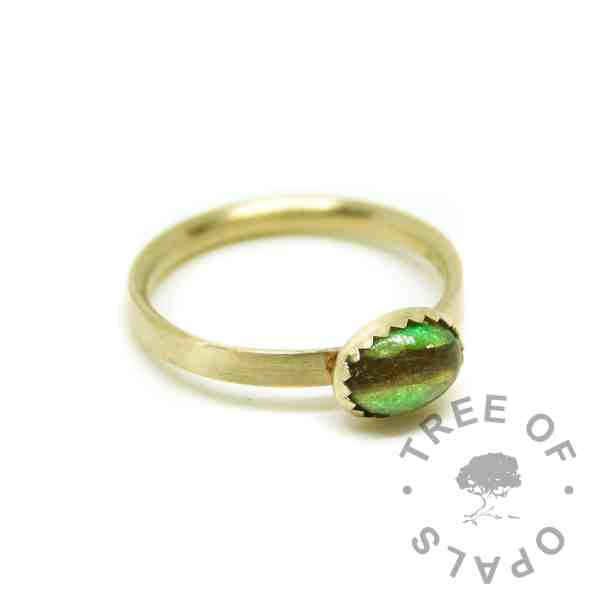 solid 14ct gold lock of hair ring Basilisk Green Resin Sparkle Mix. Mockup