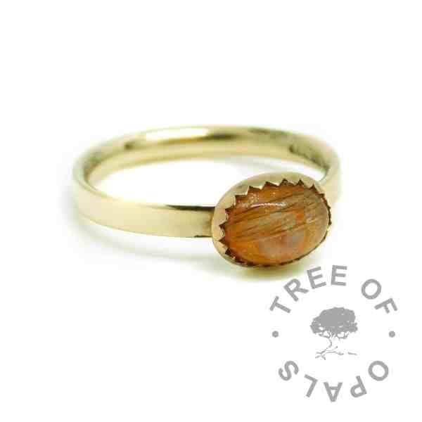 gold lock of hair ring orange. Tangerine Orange Resin Sparkle Mix, solid hallmarked 14ct gold