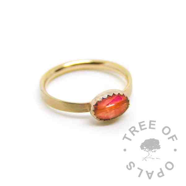 gold lock of hair ring red. Dragon's Blood Red resin sparkle mix, solid 14ct gold brushed band. Mockup