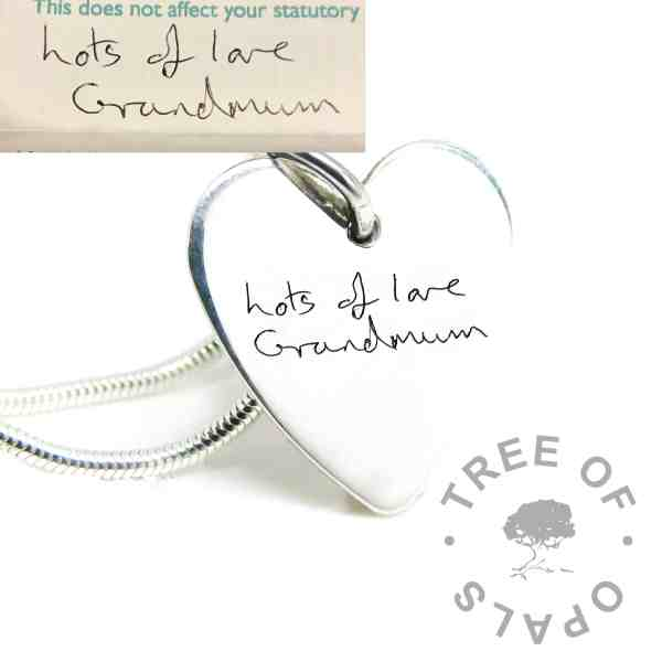 lots of love Grandmum engraved heart, handwriting engraved large heart pendant Tree of Opals. Laser engraved