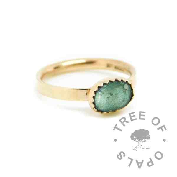 gold ashes ring angelic aqua resin sparkle mix, shiny band. Solid 14ct gold. Mockup