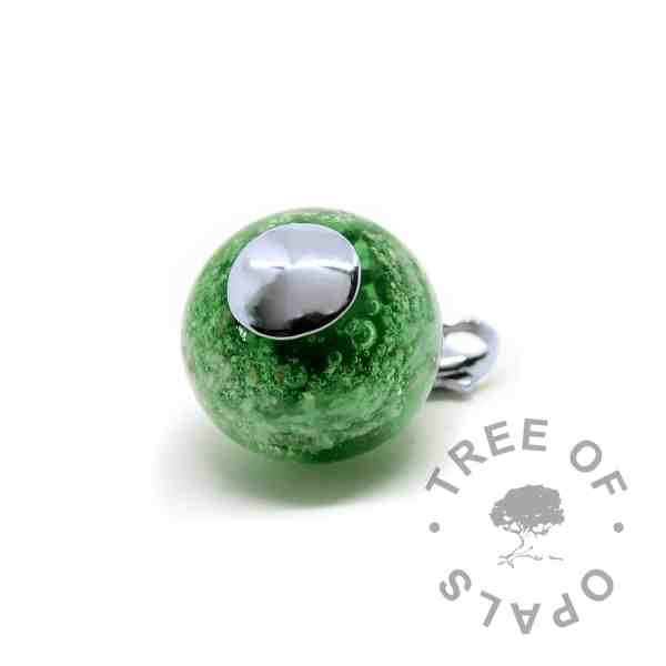 silver glass cremation orb green with lobster claw setting for Thomas Sabo bracelets (back)