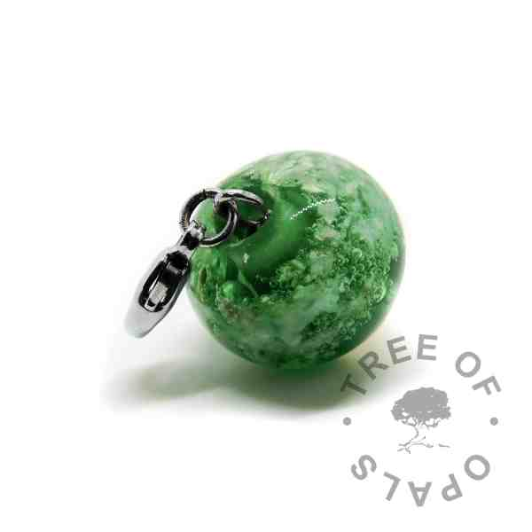 silver glass cremation orb green with lobster claw setting for Thomas Sabo bracelets