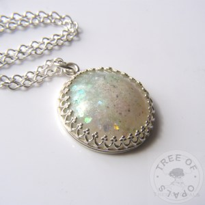 Round Cremation Ash Necklace in resin, glass or precious metal clay