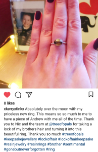 Customer's own photo of her lock of hair ring on Instagram. Argentium silver bubble band with oval sterling silver cabochon lock of hair ring