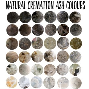 These are examples of the natural variations in cremation ash colour. We can try to mask the colour but every piece is unique and depends on the ashes you send us
