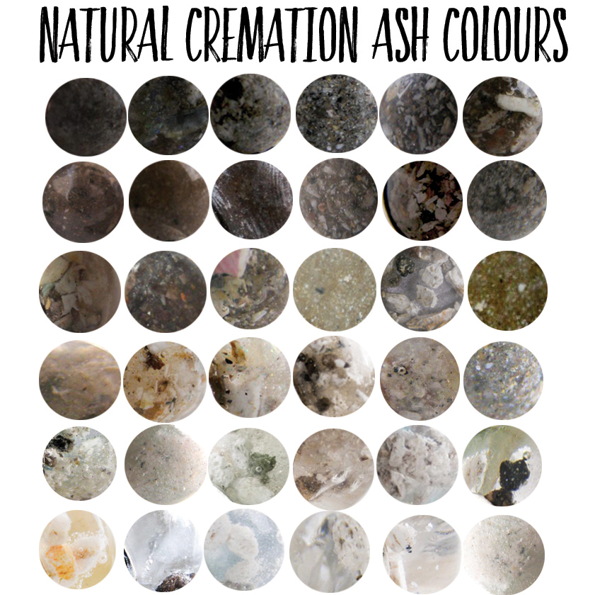 These are examples of the natural variations in cremation ash colour. We can try to mask the colour but every piece is unique and depends on the ash you send us. For resin jewellery and a glass cremation charm Tree of Opals, ash colour chart