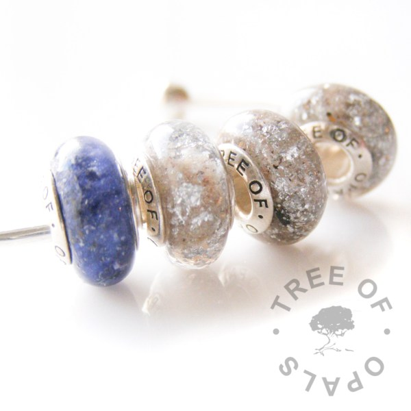 cremation ash charm bead quad with blue shimmer and silver leaf