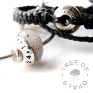 pro bono family order, cremation ash beads, one with stamped washer and one on a black macramée surfer bracelet handmade from hemp cord
