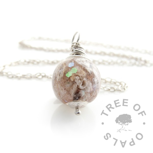 cremation ash pearl necklace unicorn white wire wrapped Tree of Opals memorial