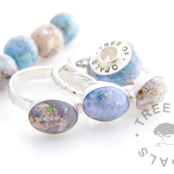 keepsake memorial jewellery family order with cremation ashes in rings, charm bead and pearls Tree of Opals