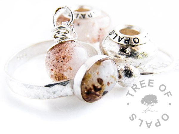 placenta umbilical cord charm bead, ring and necklace family order with crystal clear resin and Tree of Opals signature charm core
