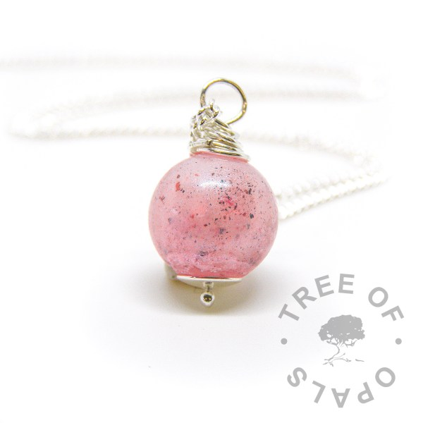pink placenta pearl, with pink shimmer and pearlescence and dried placenta