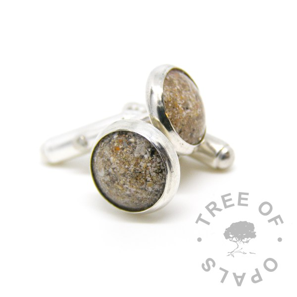 cremation ash cufflinks classic clear resin and natural ashes