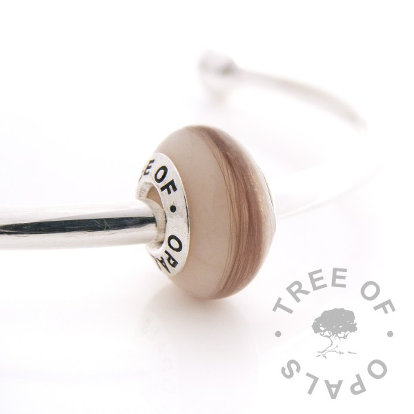 formula charm bead with lock of hair. Solid sterling silver signature Tree of Opals core