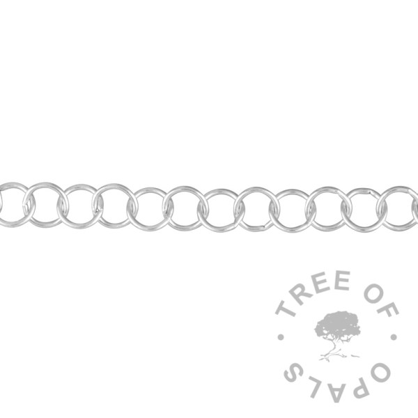 large link chain upgrade 6.3mm plain round links, creating a chain width of 6.3mm. Each link is made from 0.80mm round wire. Solid sterling silver Tree of Opals