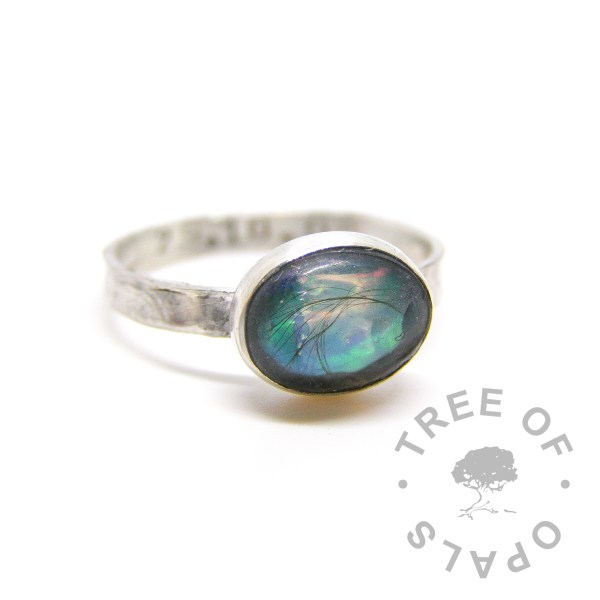 lock of hair ring with opal flakes October birthstone on a textured band