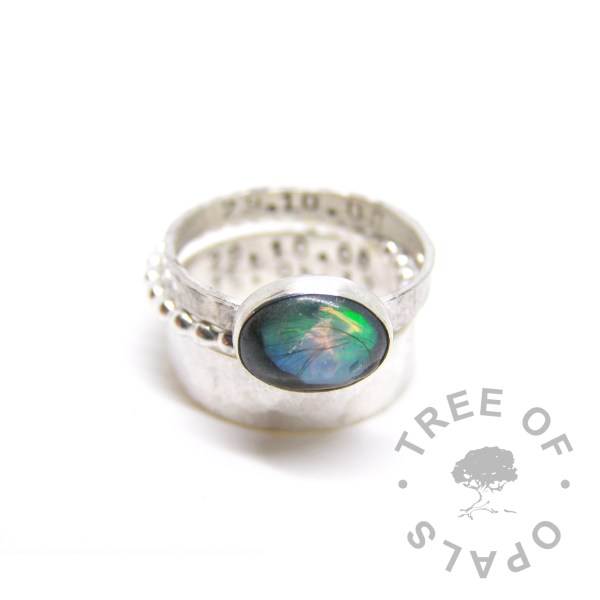 lock of hair ring with opal flakes tree of opals