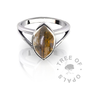 Marquise lock of hair ring custom sterling silver ring band design from Tree of Opals