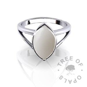 breastmilk marquise ring in solid sterling silver