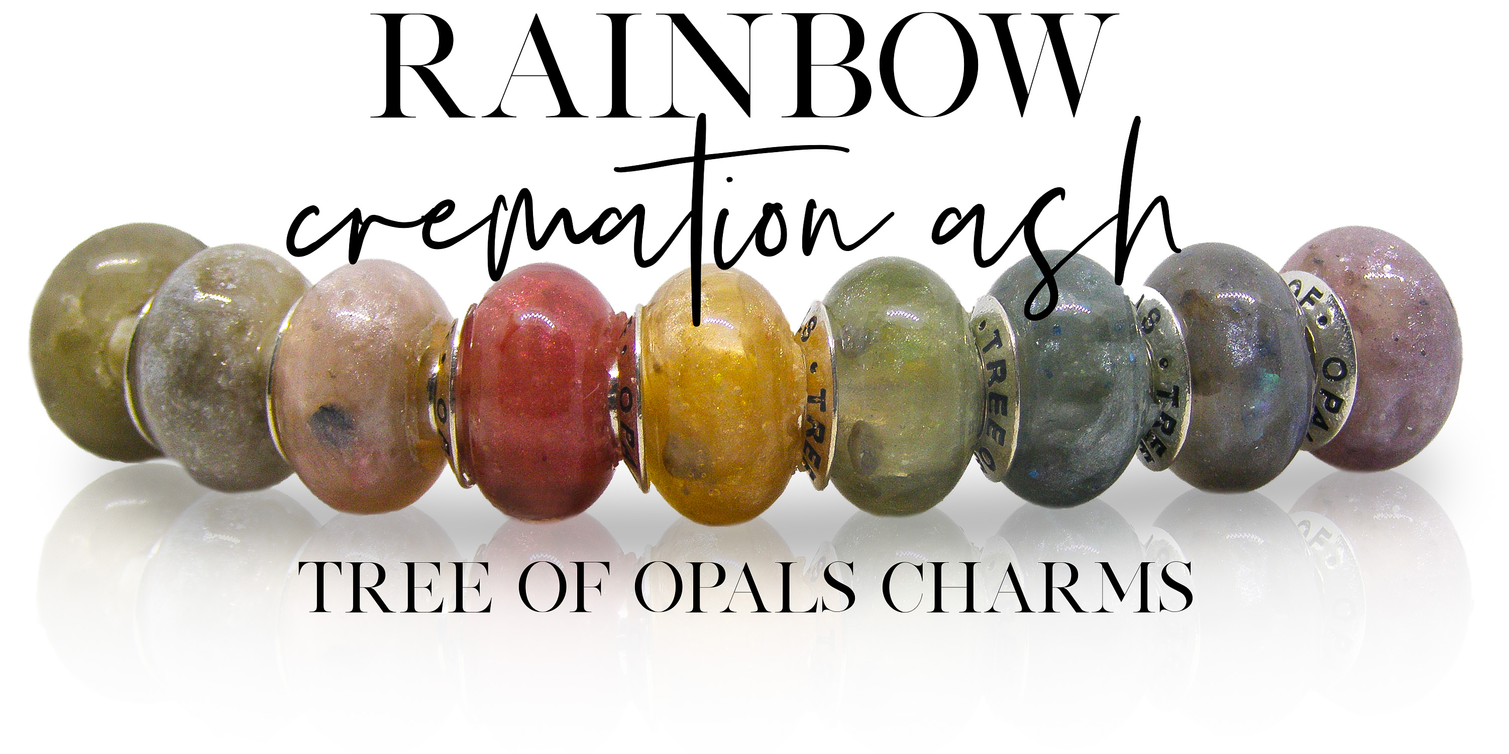 rainbow cremation charms from Tree of Opals memorial jewellery