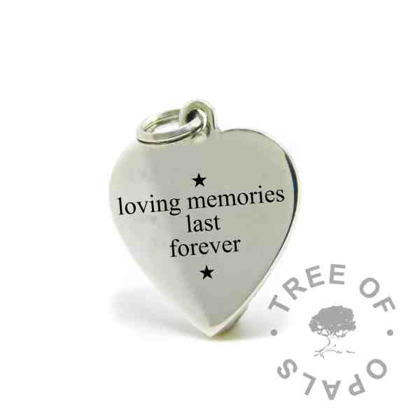 engraved heart pendant mockup in Times New Roman font, Loving memories live forever, with star symbols