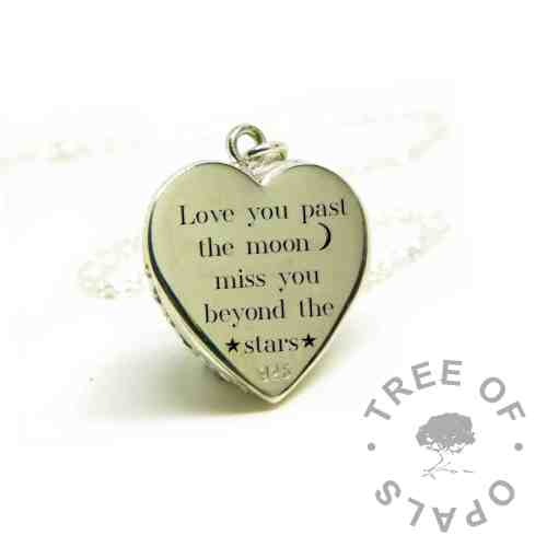 love you past the moon engraved heart necklace, Silver South Serif font heart engraved necklace memorial pendant