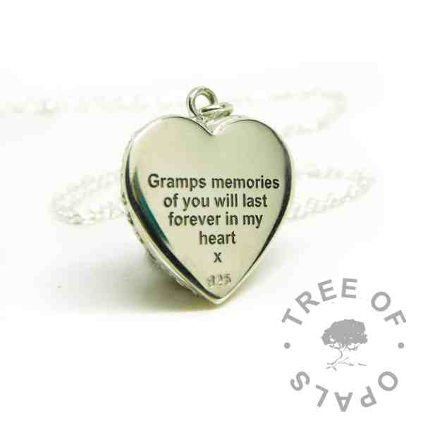 memorial necklace engraved silver necklace memories of you engraved heart necklace. Arial font