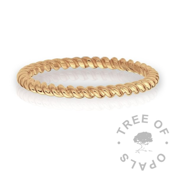 twisted 9ct solid gold ring band Solid 9ct gold hallmarked ring made of two strands of 9ct yellow gold 1mm wire twisted together and a 14ct gold bezel cup