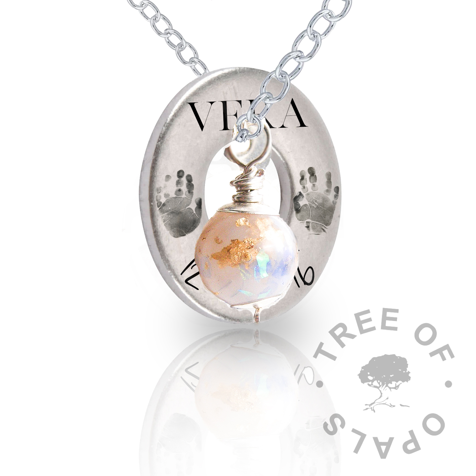 Silver engraved necklaces solid sterling silver tree of opals round necklace washer silver engraved aloadofball Gallery