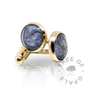 solid gold lock of hair cufflinks, groom memento jewellery Tree of Opals