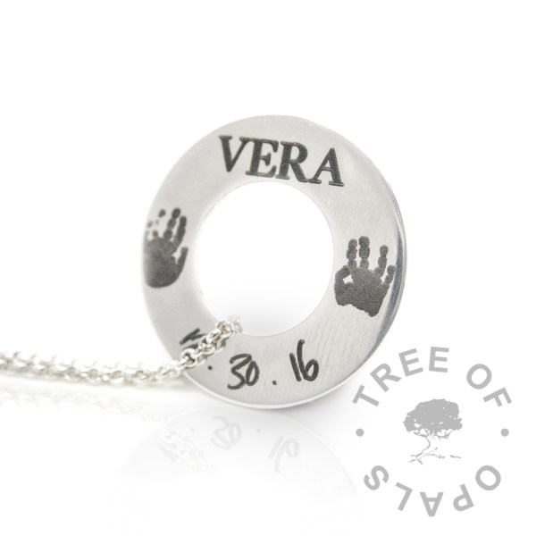 Round washer silver engraved necklaces Tree of Opals